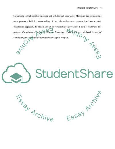 Sustainable Community Design University Entrance Essay