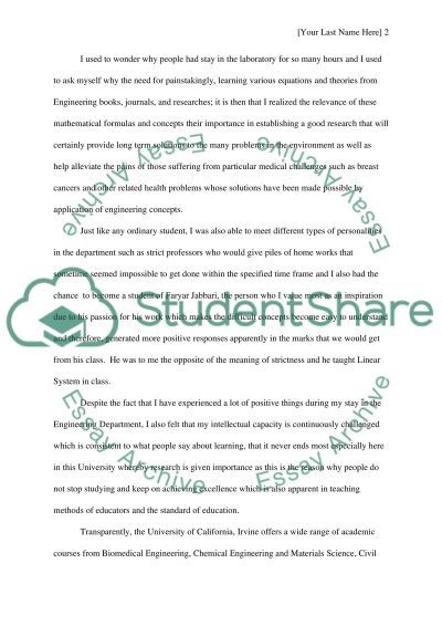 Experience as an engineering essay example