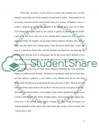 Patch Adams essay example