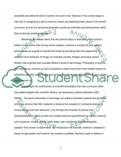 Science in an Educational Context essay example