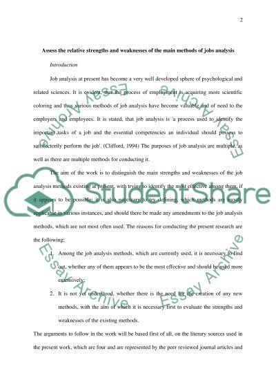 Job Analysis Master Essay essay example
