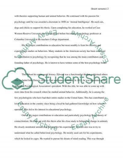 Edward Lee Thorndike essay example
