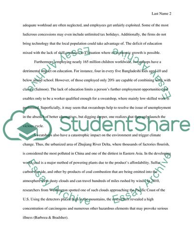 Sweatshops Essay Example  Topics And Well Written Essays    Sweatshops English Argument Essay Topics also Essays On Health  Example Of An Essay Proposal
