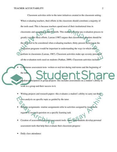 Teacher accountability