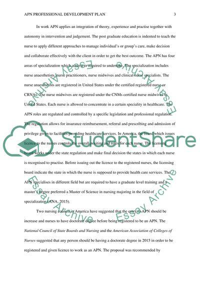 apn professional development plan coursework example