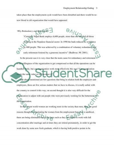 Ending the Employment Relationship essay example