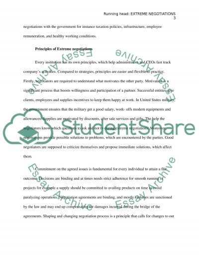 Extreme Negotiations essay example