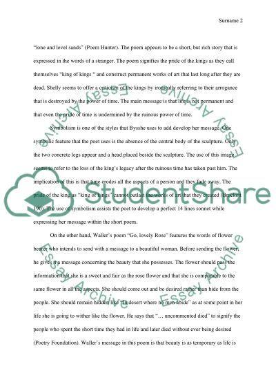 Poetry study essay example