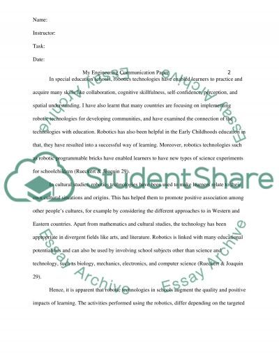 My Engineering Communication Paper Essay example
