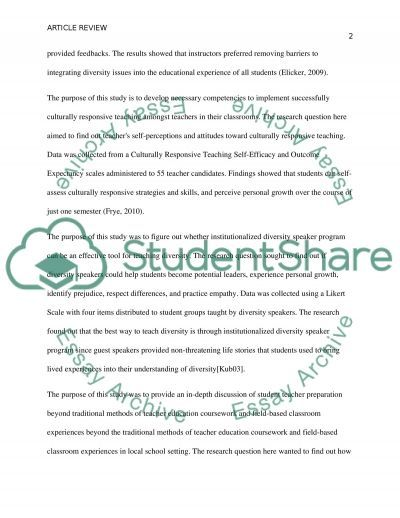 Research Article essay example