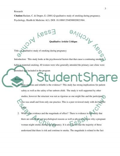 Nursing:Research critique essay example