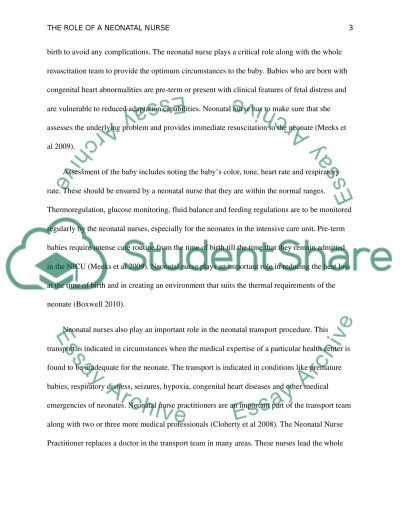 The role of a neonatal nurse essay example