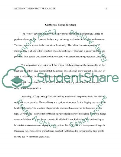 Alternative Energy Resources Research Paper example