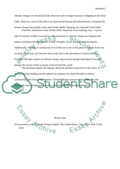Climate change impacts the United States essay example