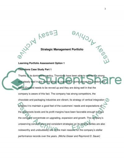 Strategic Management Portfolio essay example