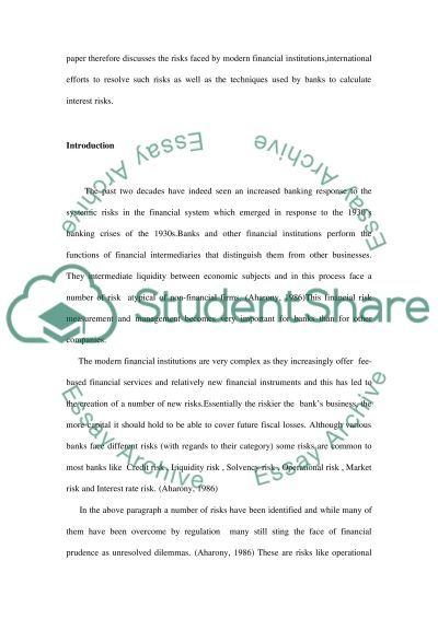 Risks Facing Financial Insitutions essay example