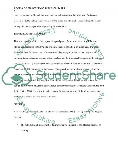 Review of an Academic Research Paper