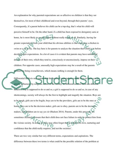 Analysis essay about parental expectations
