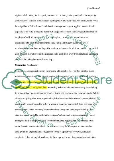Finance - Managerial Accounting essay example