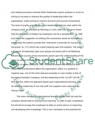 Management and Organizational Behaviour essay example