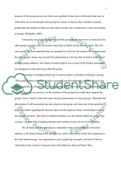 Group Decision Making Process essay example