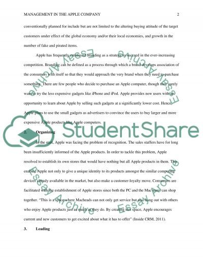 Management in the Apple Company essay example