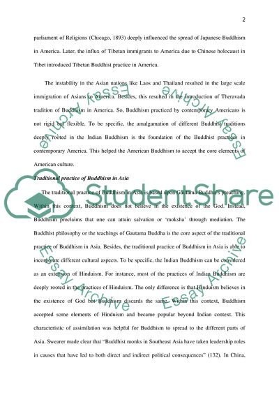 Traditional Practice of Buddism in Asia Essay Example