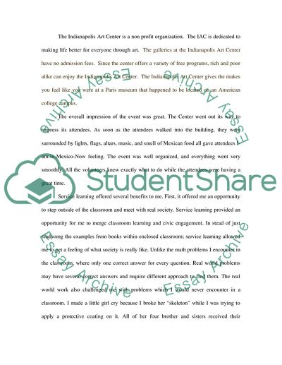 Reflection Paper on Community Service Learning