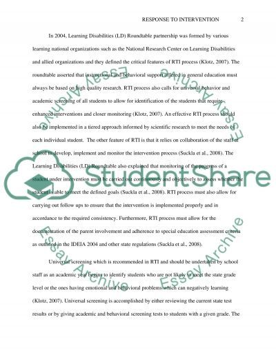 Response to Intervention-RTI essay example