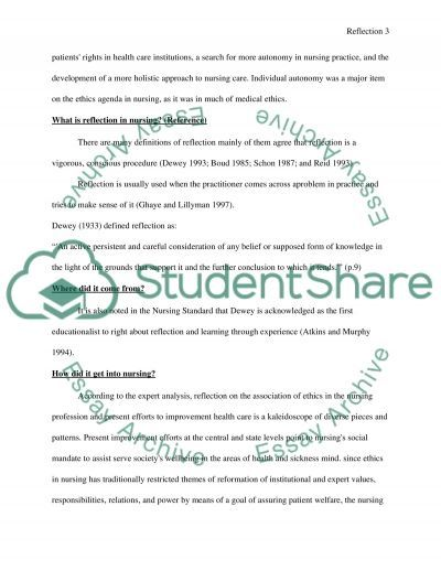 Reflection in Nursing essay example