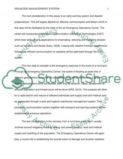 State Disaster Management System and Emergency Operation Center essay example