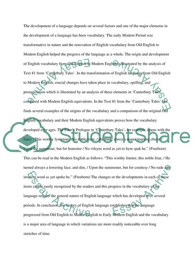 Change and Development in the English Language High School Essay