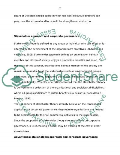 Corporate governance essay example