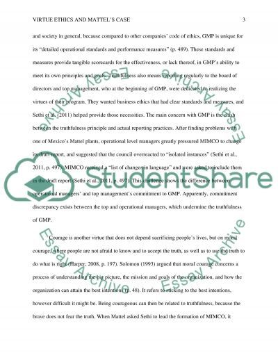 virtue ethics and mattel s case essay example topics and well  virtue ethics and mattels case essay example text preview