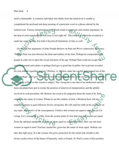 Paul and Wives Submission essay example
