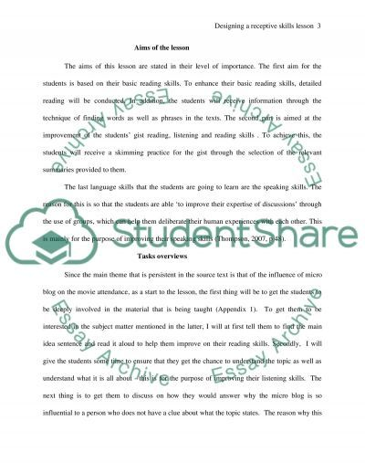 Designing a Receptive Skills Lesson essay example
