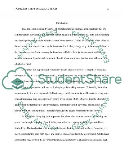 Homeless Teens in Dallas Texas essay example
