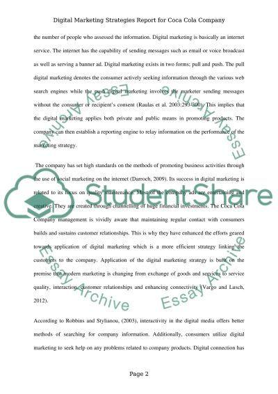 Digital Marketing Strategies Report for Coca Cola Company essay example