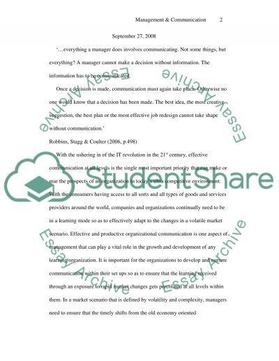 Management Master Essay essay example