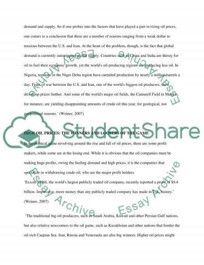 Oil controling the world essay example