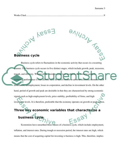 Business Cycle Essay Example  Topics And Well Written Essays    Business Cycle Read Textpreview