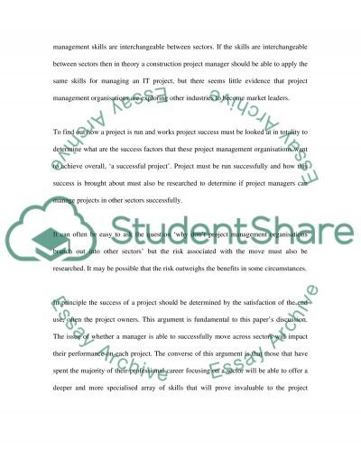 Project Management essay example
