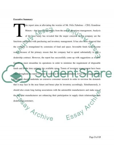Analytical report of a case study-Operation Management essay example