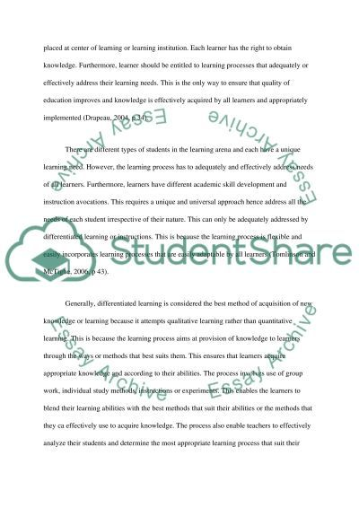 Differentiated Instruction essay example