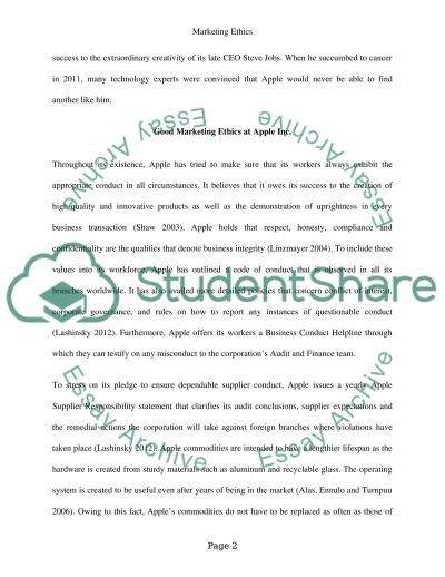 Marketing Ethics at Apple Inc. Essay example