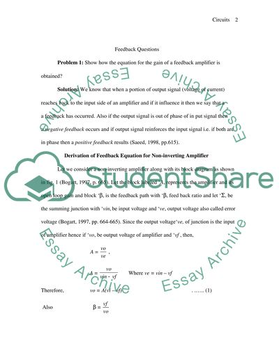 Circuits with Feedback