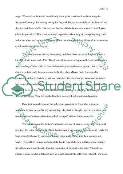 An essay on harriot story
