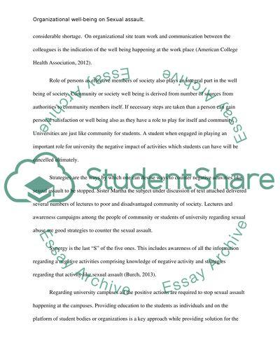 Organizational Wellbeing On Sexual Assault Essay Organizational Wellbeing On Sexual Assault