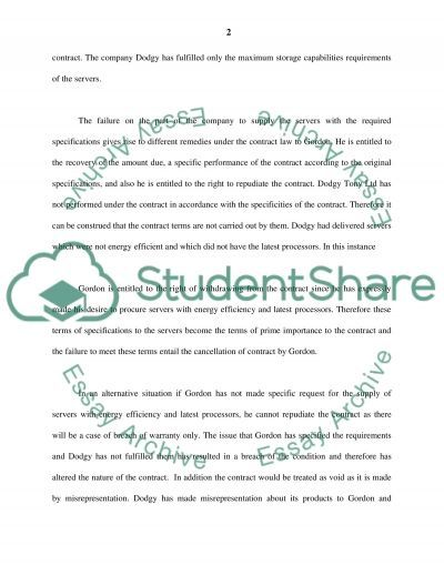 English Contract Law essay example