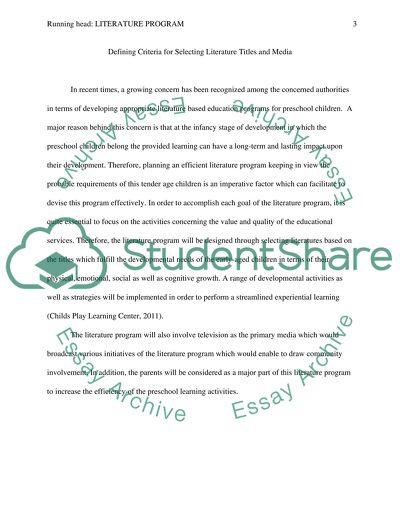 Literature Program Paper